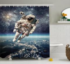 Astronot Temalı Duş Perdesi Dünya Mavi Gri Uzay Şık