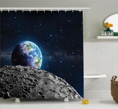 Dünya ve Ay Desenli Duş Perdesi Uzay Temalı Gri Şık