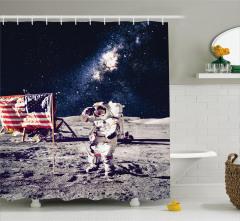 Ay'daki Astronot Temalı Duş Perdesi Gri Lacivert Şık