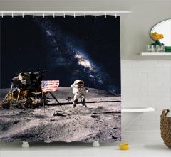 Ay ve Astronot Temalı Duş Perdesi Gri Lacivert Şık