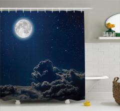 Yıldız ve Ay Temalı Duş Perdesi Lacivert Gri Bulut