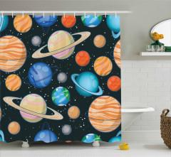 Gezegen Desenli Duş Perdesi Uzay Temalı Şık Tasarım