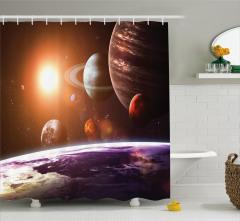 Güneş Sistemi Temalı Duş Perdesi Turuncu Gezegen
