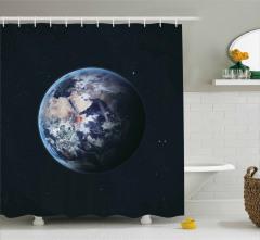 Dünya Temalı Duş Perdesi Siyah Galaksi Gezegen Uzay