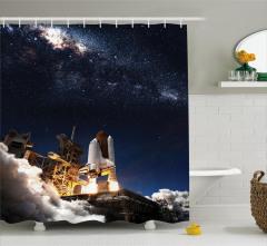 Uzay Mekiği Temalı Duş Perdesi Lacivert Gri Kozmos
