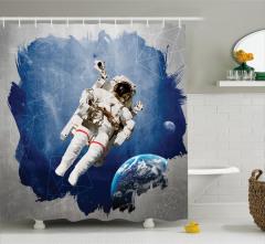 Astronot Desenli Duş Perdesi Uzay Temalı Mavi Gri