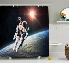 Dünya ve Astronot Temalı Duş Perdesi Uzay Trend