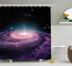 Uzay Temalı Duş Perdesi Spiral Galaksi 3D Mor Yıldız