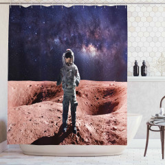 Mars ve Astronot Temalı Duş Perdesi Bej Şık Tasarım