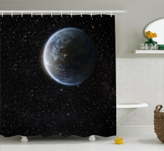 Uzay Temalı Duş Perdesi Kozmos Gökyüzü Yıldız Evren