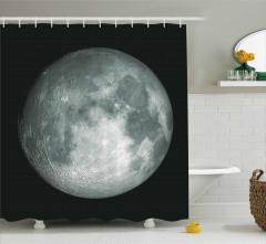 Ay Manzaralı Duş Perdesi 3D Gri Siyah Uzay Trend
