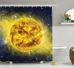 Sarı Gezegen Temalı Duş Perdesi Uzay Galaksi Evren