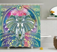 Fil Desenli Duş Perdesi Mavi Yeşil Sarı Şık Tasarım