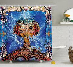 Çiçekli Ağaç Desenli Duş Perdesi Kahverengi Mavi Şık