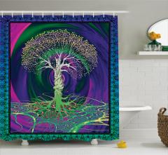 Yeşil Ağaç Desenli Duş Perdesi Mor Mavi Şık Tasarım