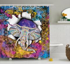 Rengarenk Fil Desenli Duş Perdesi Beyaz Şık Tasarım