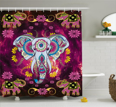 Çiçekli Fil Desenli Duş Perdesi Mor Şık Tasarım