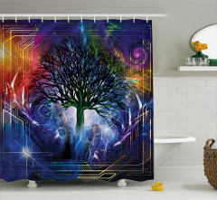 Ağaç Desenli Duş Perdesi Lacivert Turuncu Trend