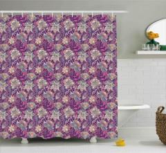 Çiçek Desenli Duş Perdesi Mor Pembe Şık Tasarım