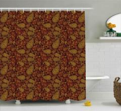 Şal Desenli Duş Perdesi Kahverengi Çiçek Motifli