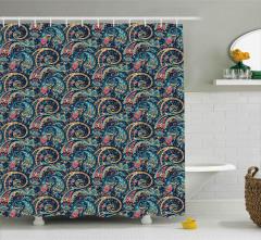 Şal Desenli Duş Perdesi Mavi Çiçekli Şık Tasarım