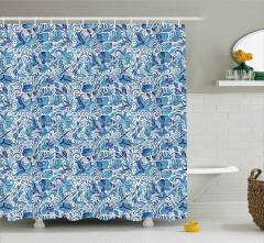 Mavi Beyaz Şal Desenli Duş Perdesi Çiçekli Çeyizlik