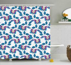 Çiçek Desenli Duş Perdesi Şal Mavi Mor Şık Tasarım