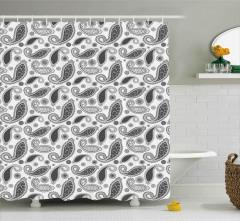 Gri Şal Desenli Duş Perdesi Çiçekli Şık Tasarım