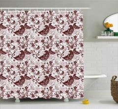 Kuş ve Çiçek Desenli Duş Perdesi Kahverengi Pembe