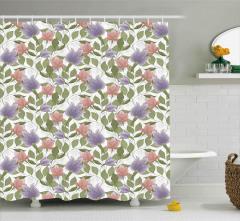 Pembe ve Mor Çiçekli Duş Perdesi Yeşil Şık Tasarım