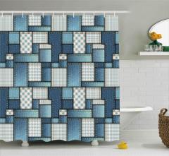 Kot Kumaşı Desenli Duş Perdesi Mavi Şık Tasarım