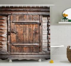 Nostaljik Kapı Desenli Duş Perdesi Kahverengi Ahşap