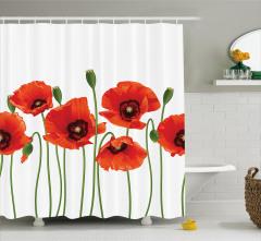 Kırmızı Gelincik Desenli Duş Perdesi Çiçek Beyaz
