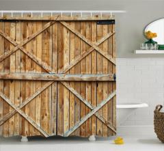 Ahşap Kapı Temalı Duş Perdesi Kahverengi Nostaljik