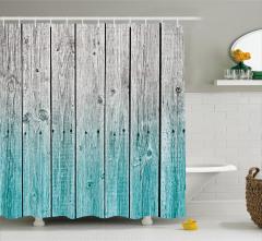 Ahşap Kapı Temalı Duş Perdesi Mavi Şık Tasarım Çivi