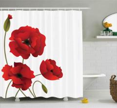 Kırmızı Çiçek Desenli Duş Perdesi Çeyizlik Trend Şık