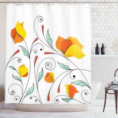 Sarı Çiçek Desenli Duş Perdesi Turuncu Çeyizlik Şık