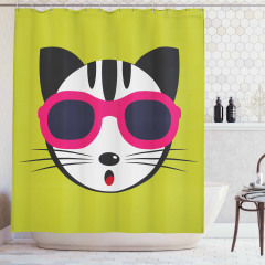 Gözlüklü Kedi Desenli Duş Perdesi Yeşil Şık Tasarım