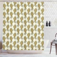 Çiçek Desenli Duş Perdesi Sarı Şık Tasarım Çeyizlik