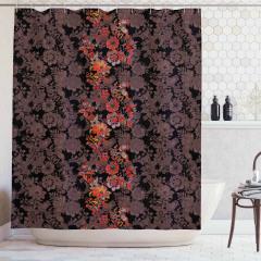 Kırmızı Çiçek Desenli Duş Perdesi Kahverengi Şık