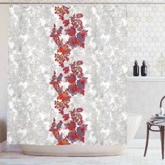 Kırmızı Çiçek Desenli Duş Perdesi Gri Şık Tasarım
