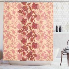 Pembe Çiçek Desenli Duş Perdesi Nostaljik Çeyizlik