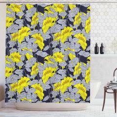 Çiçek Desenli Duş Perdesi Gri Sarı Doğa Trend Şık