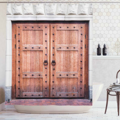 Nostaljik Ahşap Kapı Temalı Duş Perdesi Kahverengi