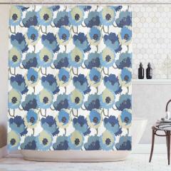 Nostaljik Çiçek Desenli Duş Perdesi Mavi Şık Tasarım