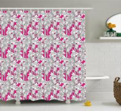 Gri Çiçek Desenli Duş Perdesi Pembe Şık Tasarım