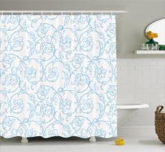 Mavi Çiçek Desenli Duş Perdesi Beyaz Şık Tasarım
