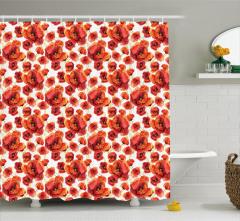 Kırmızı Gelincik Desenli Duş Perdesi Beyaz Çiçek Şık