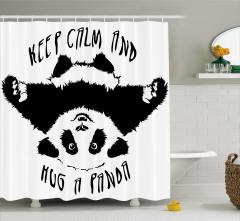 Panda Desenli Duş Perdesi Siyah Beyaz Çocuk İçin