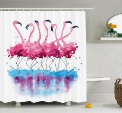 Flamingo Desenli Duş Perdesi Pembe Mavi Şık Tasarım